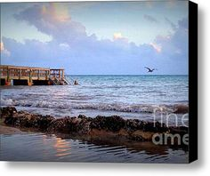 Limited Time Promotion: Dockside Sunset  Stretched Canvas Print