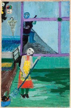 Carmen Luisa. 1964. 46 x 30,3 cm. Óleo sobre madera prensada. Fundación Violeta Parra.  Óleo sobre madera prensada.  Fundación Violeta Parra.