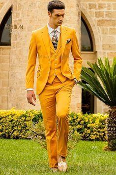 d973b22e5 2017 Latest Coat Pant Designs Yellow Men Suit Slim Fit 3 Piece Suits  Italian Tuxedo Custom