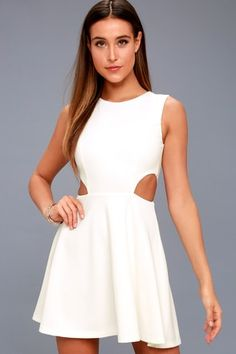 0f06ffb040 Toast to You White Cutout Skater Dress 6 White Dresses For Sale