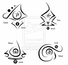 Discover thousands of images about Elements Symbols by StephDragonness on deviantART Symbol Tattoos, Body Art Tattoos, Cool Tattoos, Tatoos, 4 Elements, Element Symbols, Symbols And Meanings, Ancient Symbols, Book Of Shadows