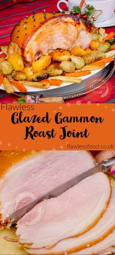 This recipe shows you how to make a Glazed Gammon Roast Joint Recipe, perfectly cooked using both a boil and oven-roasted method.Gammon boiled in a pan or a pressure cooker then coated in a delicious sticky glaze to finish off in the oven.Most popular at Christmas, but we love it all year round for a delicious Sunday Roast dinner and leftover slices of ham are perfect for lunch! Roasted Ham, Roasted Potato Recipes, Bacon Recipes, Appetizer Recipes, Vegetarian Recipes, Dinner Recipes, Thanksgiving Side Dishes, Thanksgiving Recipes, Holiday Recipes