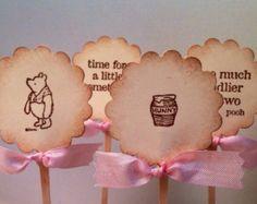 Winnie the Pooh Cupcake Topper-Pooh Heart by YellowFlowerDesigns