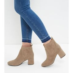 New Look Mink Suedette Flared Block Heel Ankle Boots ($34) ❤ liked on Polyvore featuring shoes, boots, ankle booties, light brown, rounded toe boots, round toe boots, light brown boots, mink fur boots and new look boots