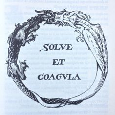 "OUROBOROS. ""Solve Et Coagula"" is a maxim or motto of Alchemy which means ""dissolve and coagulate"". It means that something must be broken down before it can be built up. One interpretation of this saying is to dissolve the body and build up the spirit."