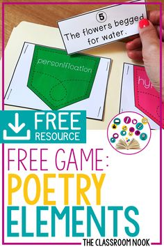 FREE Game: Poetry Elements Help students to practice identifying poetry elements with this FREE literacy center game – perfect for third grade, fourth grade, and fifth grade Poetry Activities, Teaching Activities, Learning Games, Teaching Ideas, Poetry Game, Third Grade Reading, Third Grade Centers, Poetry Lessons, Teaching Poetry