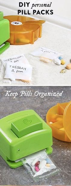 Sort, seal, and separate your pills and vitamins into simple-to-take doses. This travel pill organizer dispenses your medications into convenient baggies and the sealer easily closes them up to toss in a drawer, your purse, or anywhere else. You can label Health Tips, Health And Wellness, Health And Beauty, Diy Guide, Do It Yourself Inspiration, Pill Organizer, Circuit Projects, Diy Projects, Things To Know