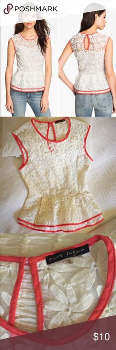 Pure Sugar Lace Peplum Top Re-poshing this sadly 😞 bc it is too loose around my chest. Gorgeous structured lace peplum top in sheer ivory daisy pattern with bright coral trim. Sweetheart neckline. Keyhole back with covered button. Fitted to waist. Great condition. Pure Sugar Tops