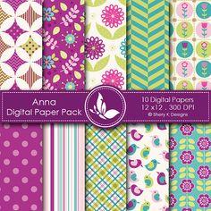 Anna Paper Pack  10 printable Digital by SheryKDesigns on Etsy, $2.50