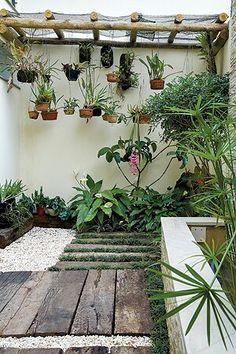 Orquídeas e pedras no chão onde vão ficar os vasos
