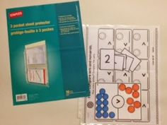 3 pocket sheet protectors to help with organizing math stations