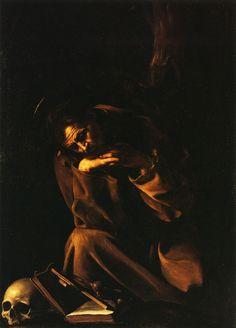 Caravaggio. Meditación de San Francisco, 1606. Óleo sobre lienzo. Pinacoteca del Museo Cívico, Cremona. WikiPaintings.org