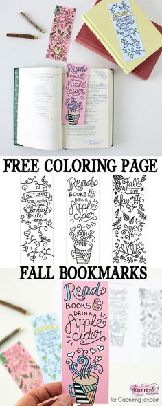 FREE printable Fall Bookmarks Coloring Page