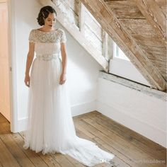 Vintage Inspired Wedding Dresses A Line Beaded And Tulle Bohemian Beach Plus Size Wedding Dresses Abiti Da Sposa Z-40 Wedding Dress 2017 Simple Wedding Robe De Mariee Online with $301.72/Piece on Rosemarybridaldress's Store | DHgate.com