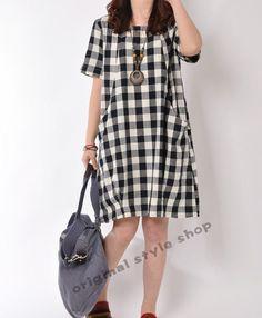 Black cotton dress short sleeve dress cotton blouse casual loose blouse  cotton shirt summer dress cotton top plus size dress 9c4d477bf5