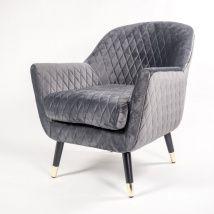 Graphite Grey Velvet Matelasse Armchair