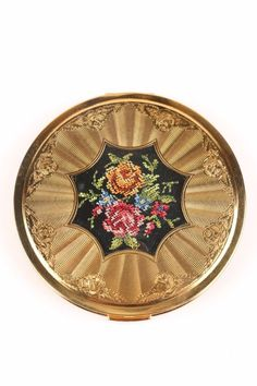 Unused Vintage 1940s Melissa England Gold Tone Celluloid Mid Cent Ladies Compact