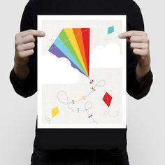 kite art - kite print, rainbow nursery fly a kite, colourful art for kids, playroom print, flying kites art, colourful nursery art, wall art