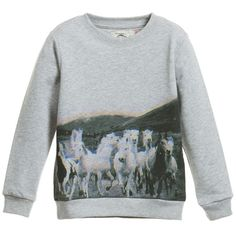 STELLA MCCARTNEY KIDS Grey Horse Print 'Billy' Organic Cotton Sweater