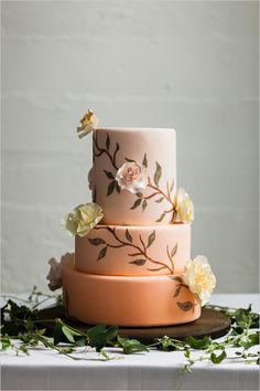 This rose colored wedding cake is so perfect for an elegant wedding.
