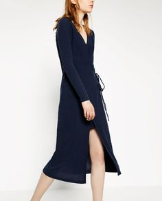 Image 2 of CROSSOVER DRESS WITH FRONT SLIT from Zara