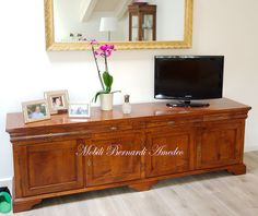Tv stand, solid walnut, 270 cm long. Mobile Tv in noce massello da ...