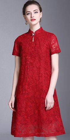 Vintage Pure Color Hollow Out Button Lace Shift Dress
