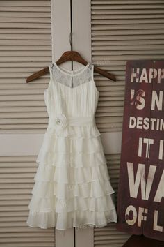 Ivory Chiffon Lace Flower Girl Dress Cupcake Dress Toddler/ Baby Girl Dress for Wedding with Flower Sash Birthday Dress on Etsy, $46.99