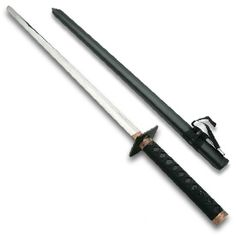 The ninja combat sword is made with a 440 stainless steel sharpened blade and an anti-shock nylon black woven cord handle. This ninjutsu sword's black scabbard makes it the perfect weapon for your next ninja stealth mission.  Makes a great gift for the ninjitsu fanatic in your family.