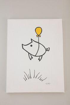 12x16 original canvas art  flying piggie by onceuponadesignCHO, $45.00