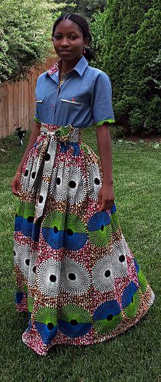 African Print Maxi Skirt. Inside Pockets. Sash Waistband. Fully Lined. SKIRT ONLY. Handmade. Womens Clothing. This maxi skirt is fully lined, Sash waistband, with two inside pockets. Denim Shirt. Ankara   Dutch wax   Kente   Kitenge   Dashiki   African print dress   African fashion   African women dresses   African prints   Nigerian style   Ghanaian fashion   Senegal fashion   Kenya fashion   Nigerian fashion   Ankara crop top (affiliate)
