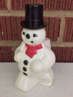 Vintage 1960s Plastic Rosbro Christmas Snowman with Pipe Kitchy Holiday Party Prop Home Decor Holder for Candy Paper Straws Pens or Pencils by EuroGnome on Etsy
