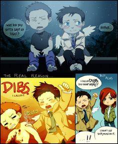 Cas has dibs on Dean.