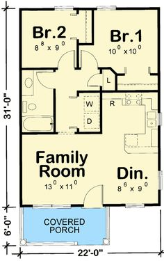 Cozy 2 Bed Tiny House Plan - Plan Cozy 2 Bed Cottage House Plan -Plan Cozy 2 Bed Tiny House Plan - Plan Cozy 2 Bed Cottage House Plan - Two Bedroom Tiny Cottage - Cottage House Plans, Small House Plans, Cottage Homes, House Floor Plans, 20x30 House Plans, Small Tiny House, Cabin Plans, Shed Plans, Granny Pods