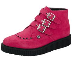 A8507 - Hot Pink Suede Creeper Boots   #TUK