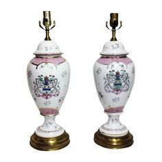 Image of Armorial Porcelain Table Lamps - A Pair