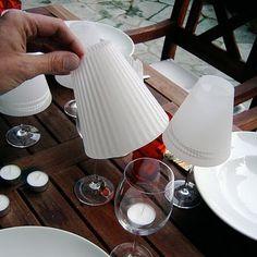 DIY Vellum Wedding Wine Shades. add a tea light for a warm glow