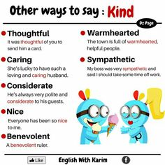 Alternative words for kind English Idioms, English Vocabulary Words, English Phrases, Learn English Words, English Writing, English Study, English Lessons, English Grammar, Learning English For Kids