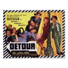 Detour is a film noir classic. This poster design features the cast and embodies the film noir style to perfection. Makes a great gift for all cinemaphiles. #yellow #orange #stripes #film #noir #movies #retro #classic #cinema #gritty #crime