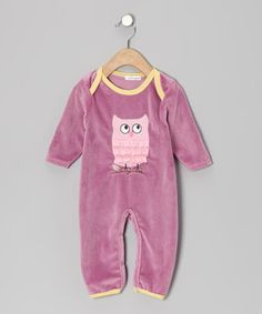 Love this Rumble Tumble Purple Owl Velour Playsuit - Infant by Rumble Tumble on #zulily! #zulilyfinds
