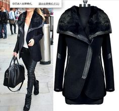 winter black turn down fur collar wool coat women's leather patchwork Zipper wool jacket outerwear = 1931754116 from Bling Bling Deals.