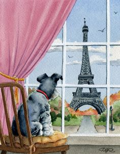 MINIATURE SCHNAUZER In PARIS Dog Watercolor Signed by k9artgallery, $12.50