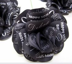 """Personalized Black Birthday Roses 30th 40th 50th 60th  Set of 6  4"""" Diameter Roses with 16"""" Stem"""