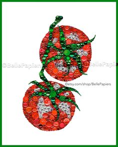 Button Art Tomatoes | Tomato Decor | Kitchen Art | Button Canvas Tomatoes Each Button Art Vine Tomatoes is 8x10 and is mounted to a sturdy, framable