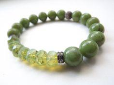 Jade bracelet natural green jade bracelet Czech by rocknitjewelry, $38.00