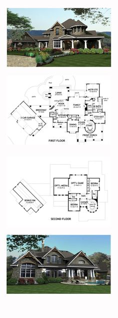 Craftsman House Plan 65872 | Total Living Area: 3349 sq. ft., 4 bedrooms and 4 bathrooms. #craftsmanhome