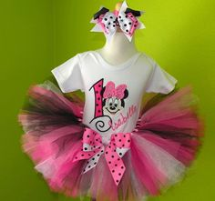 Pinks n Black Minnie Mouse Face Birthday Tutu Set... would be cute on my Abby