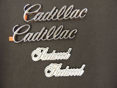 1990's NOS Cadillac Emblem Lot Stick On Fleetwood White Chrome General Motors GM #GM #Adhesive