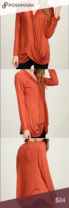 "Bellino ""Surplice Top""- Rust. Bellino ""Surplice Top""- Rust.  97% Rayon.  3% Spandex.  Made in the USA. Bellino Clothing Tops Blouses"