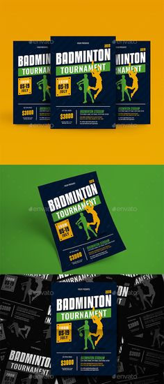 Badminton Tournament Flyer Template PSD